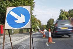 Lane closure during resurfacing work