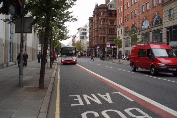 Bus in bus lane at May Street