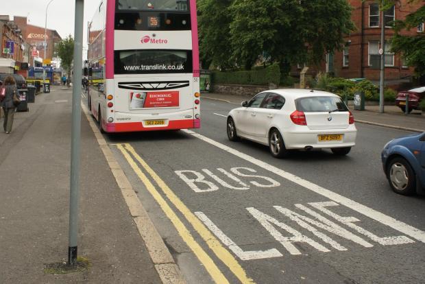 Lisburn Road bus lane solid white line