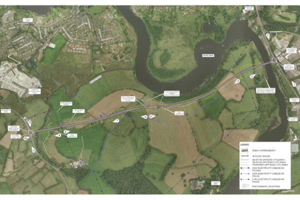 A4 Enniskillen Southern Bypass aerial view of preferred alignment