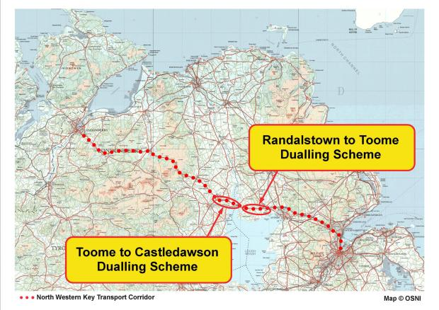 A6 Randalstown Castledawson - location on North Westsern Corriodor