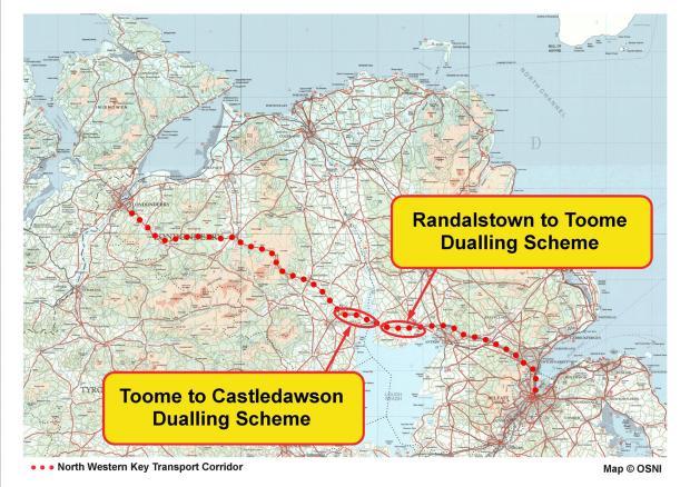 A6 Randalstown Castledawson - location on North Westsern Corriodor