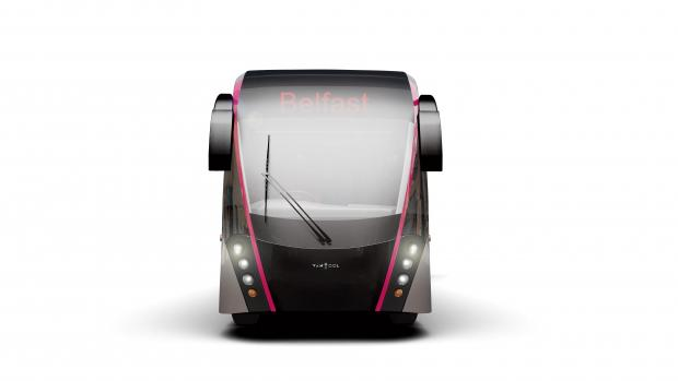 Artists impression of the front of a Van Hool BRT vehicle