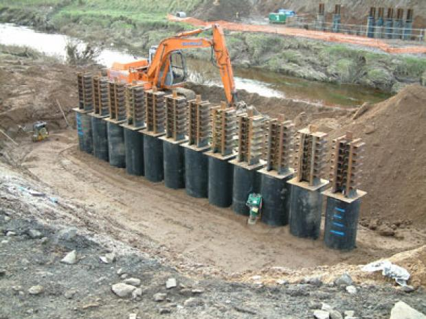 Steel piles and shear connectors