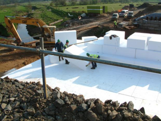 Lightweight polystyrene fill behind abutments