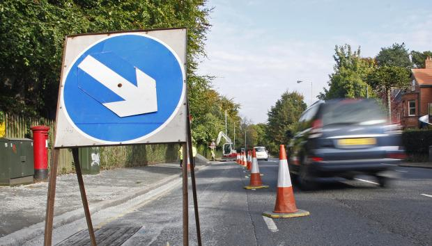 Lane closure during resurfacing work