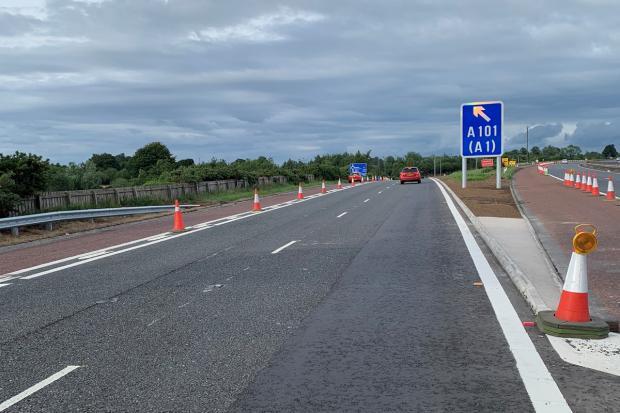 New hard shoulder bus lane at M1 Junction 8, Blaris off-slip