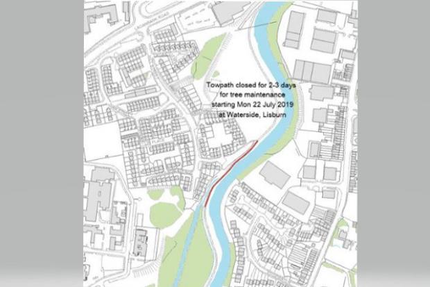 Map of Lagan Towpath closure July 2019
