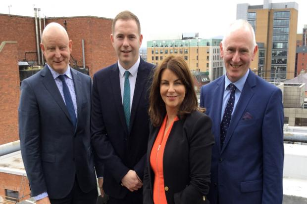 Infrastructure Minister Chris Hazzard, Gavin Killeen, President, Sinead McLaughlin, Chief Executive and Brian McGrath, member of Derry Chamber