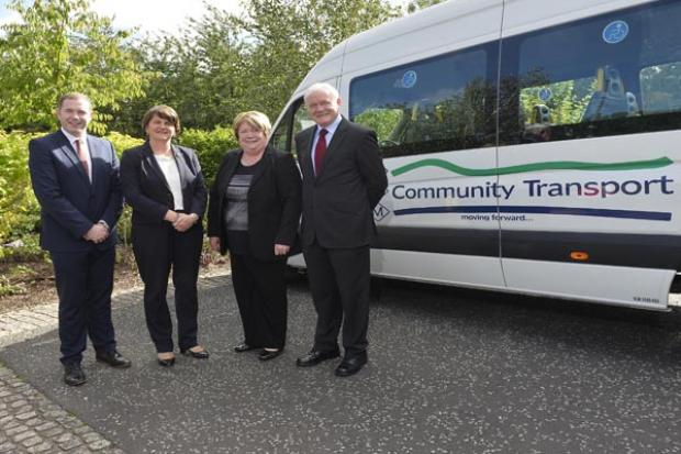(L-R) Infrastructure Minister Chris Hazzard, First Minister Arlene Foster, Brigid Scullion Manager CDM Community Transport and deputy First Minister Martin McGuinness.