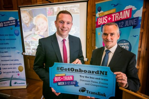 Infrastructure Minister Chris Hazzard and Chris Conway, Group Chief Executive, Translink