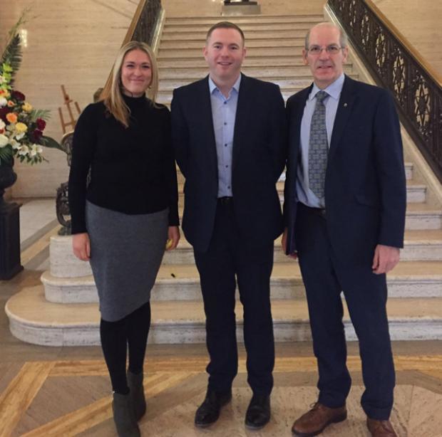 Minister Hazzard with Seán Ó Coinn & Nuala Ní Scolláin from Foras na Gaeilge
