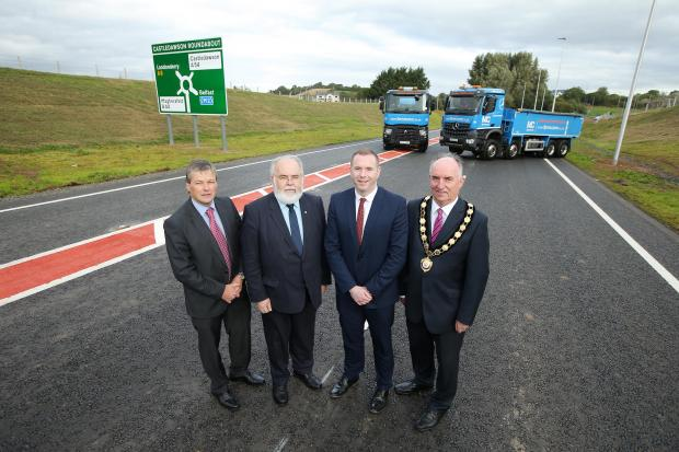 Conor Loughrey TransportNI, Francie molloy (MP), Minister Hazzard and Chair of Mid-Ulster Council Trevor Wilson