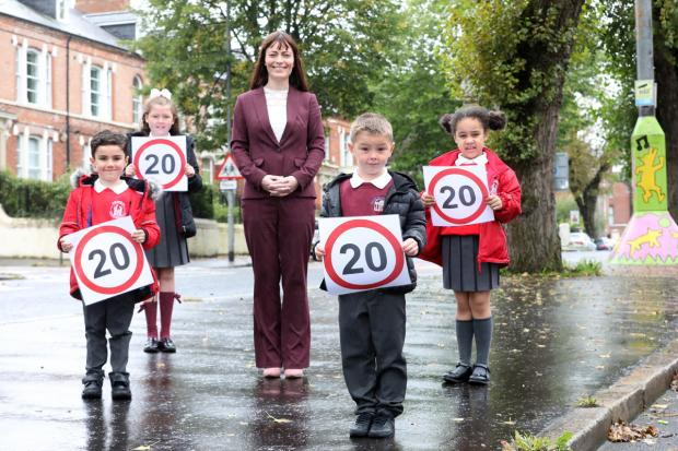 DfI Minister at launch of 20mph speed limit scheme for 100 schools