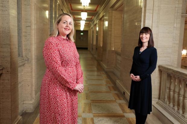 Minister Nichola Mallon with Kirsty McManus of the Institute of Directors