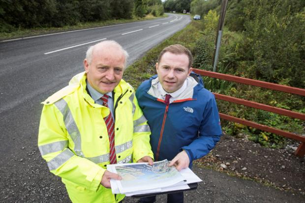 Minister Hazzard with Henry Robinson TransportNI at Newbridge Road, Lisnaskea