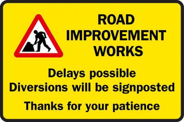 Road improvement works graphic