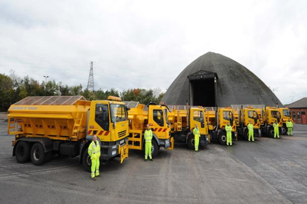Winter Service Gritter line-up at Airport Road