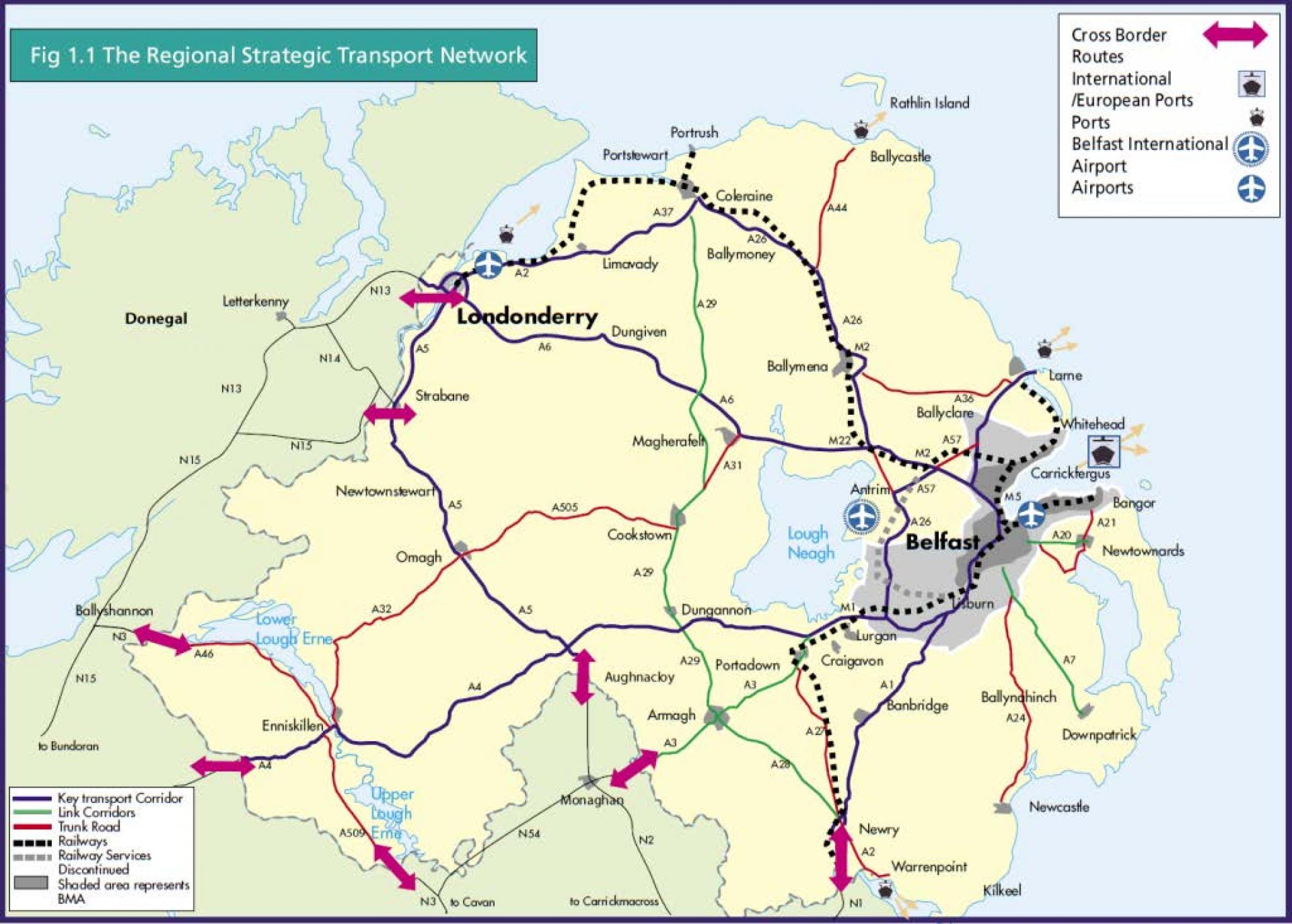 Regional Map Of Ireland.Regional Strategic Transport Network Department For Infrastructure